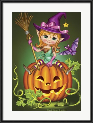 Happy Halloween Art! Witch with a Broom on a Pumpkin by Olga and Alexey Drozdov