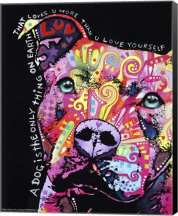 Dean Russo's Thoughtful Pit Bull is one of our best-selling canvas art prints
