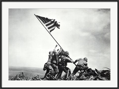 Patriotic Living Room Wall Art - Flag Raising on Iwo Jima, February 23, 1945 by Joe Rosenthal