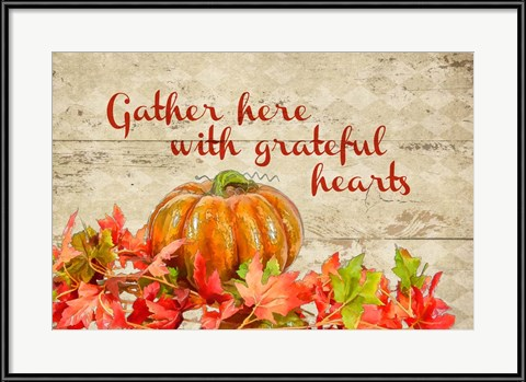 Thanksgiving Artwork - Gather with Thankful Hearts by Romona Murdock