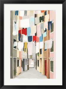 Wall art of clothes hanging to dry on the clothes line