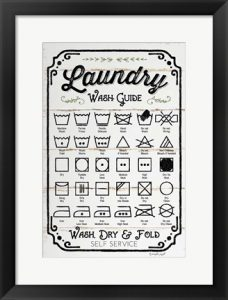 Laundry wash guide framed wall art