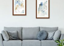 Geometric framed wall prints in living room