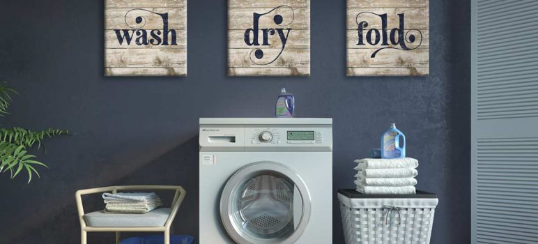 Canvas wall art in laundry room