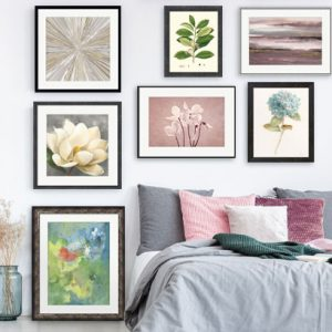 gallery wall art, floor to ceiling layout