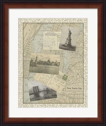Framed vintage map of new york
