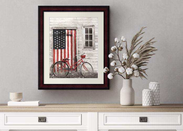 A home decorated with the American flag, showing a concept of incorporating Americana decor.
