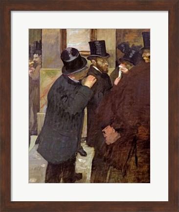 Framed artwork, At the Stock Exchange, by Edgar Degas