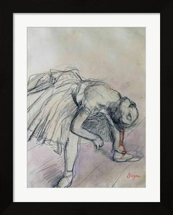 Edgar Degas framed drawing of dancer fixing her slipper