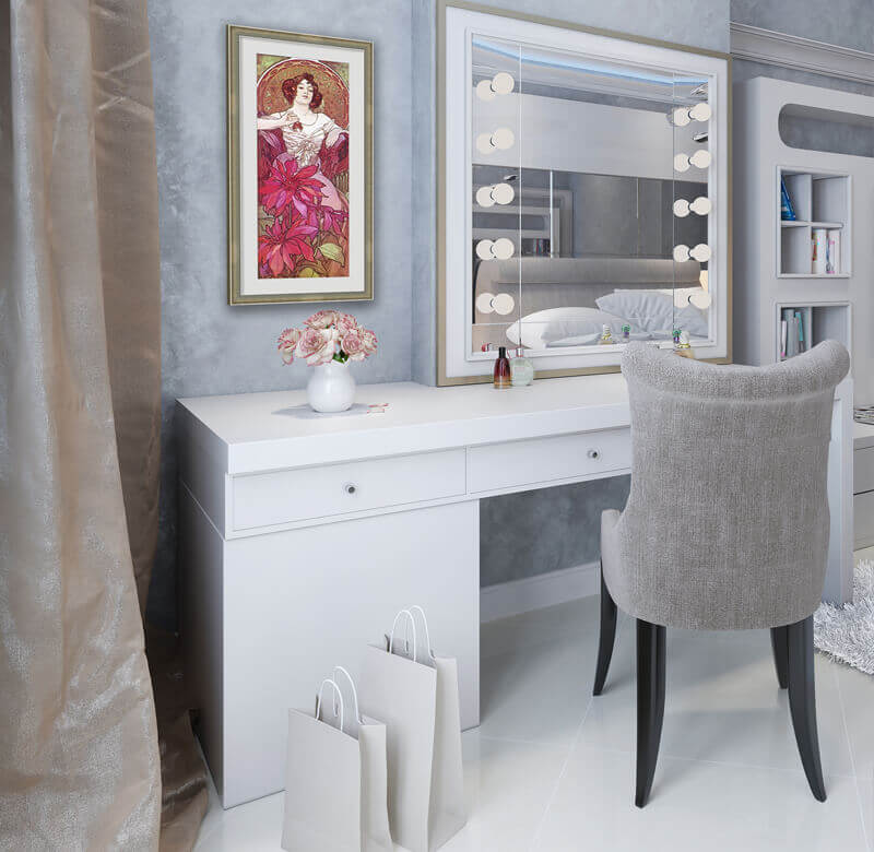 Feminine Elegance art in a Bedroom