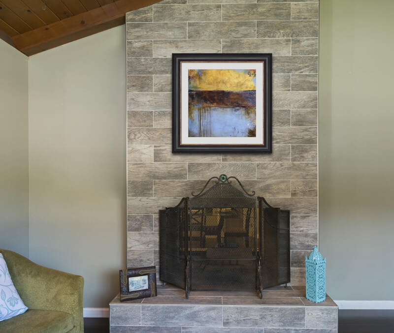 art over a fireplace
