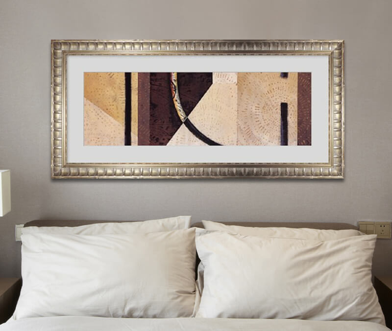 abstract art over a bed