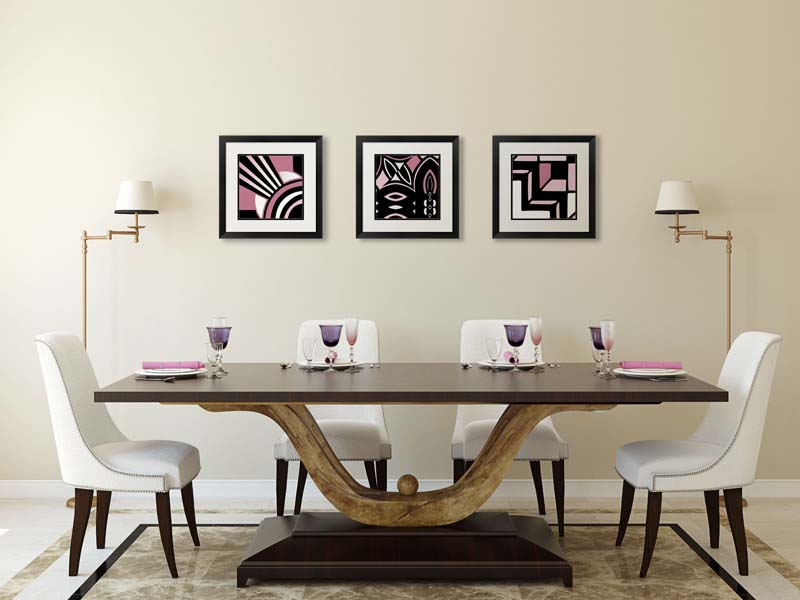 Art Deco art in a dining room