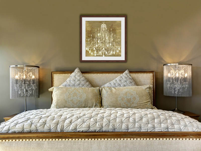 black and gold glamorous art in a bedroom