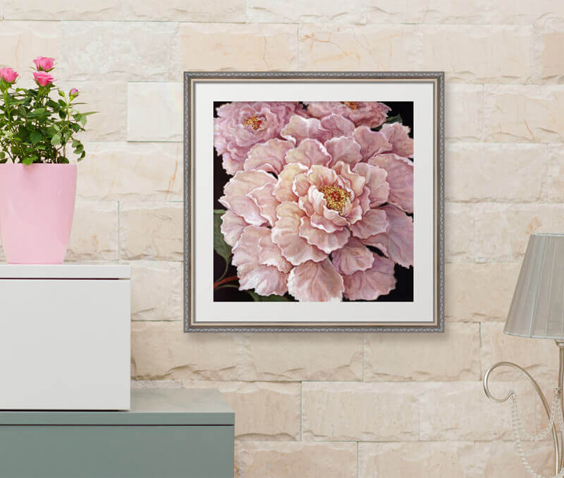 Chic Pink Art in a White Room