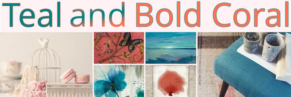 Bold Coral Brown and teal Art