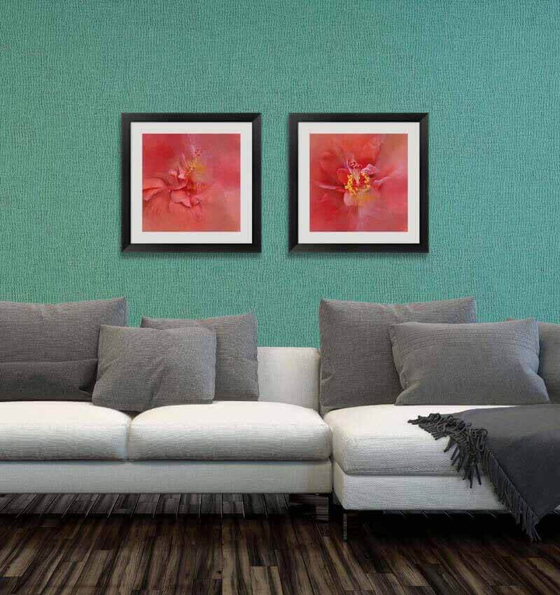 Bold Coral art in the living room