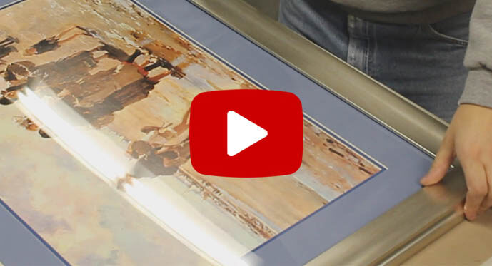 custom framed art process video