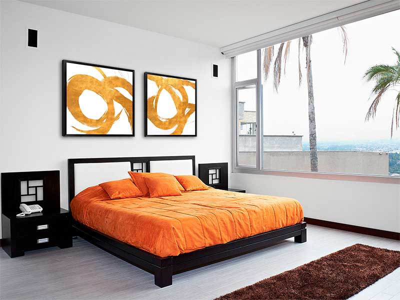 Colorful High Contrast Art in the Bedroom