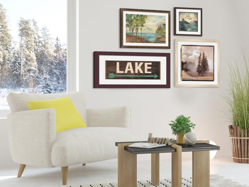 Lake house art in a living room