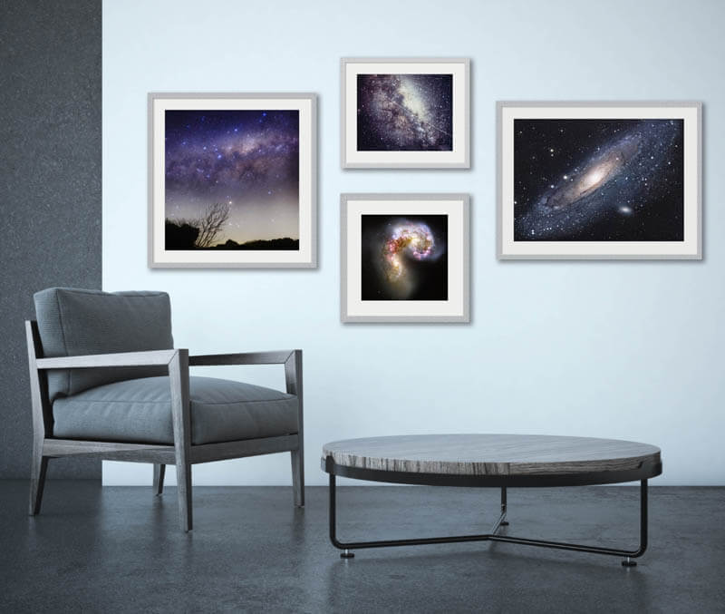 Silver framed stellar space phottography