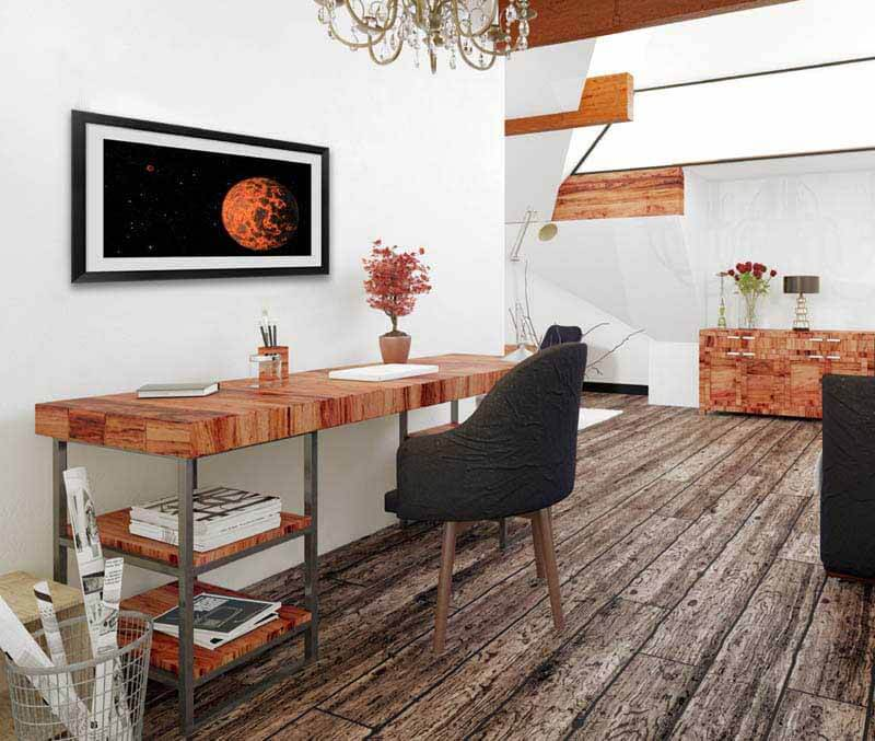 Orange Stellar Space Art in an Office