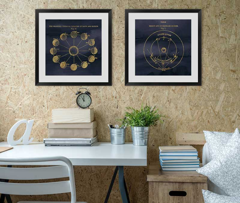 stellar space blueprints in an office