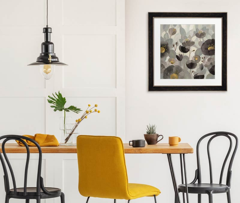 gray art in the dining room