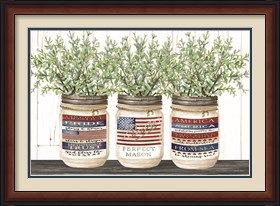 Framed Patriotic Glass Jar Trio I