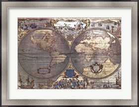Framed Map of the World-Silver (w/Gold Foil)