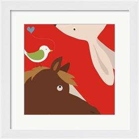 Framed Farm Group: Rabbit and Horse