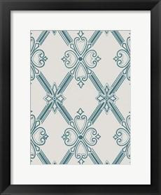 Framed Ornamental Pattern in Teal II