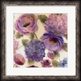 Framed Blue and Purple Flower Song III