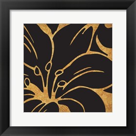 Framed Black and Gold Flora 3