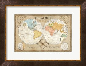 Framed Old World Journey Map Cream