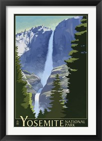 Framed Yosemite Mountains And Trees