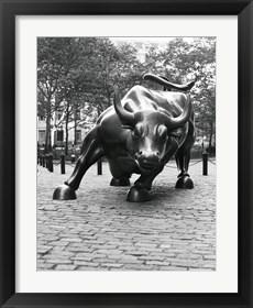 Framed Wall Street Bull Sculpture 1