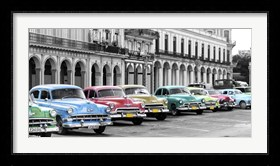 Framed Cars Parked in Line, Havana, Cuba
