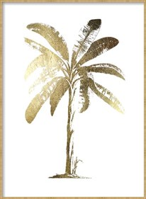 Framed Gold Foil Tropical Palm II- Metallic Foil