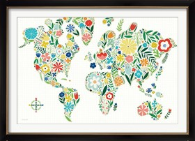 Framed Floral World White