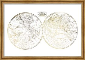 Framed Gold Foil World in Hemispheres