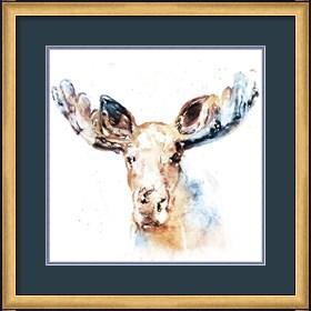 Framed Watercolour Moose
