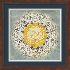 Framed Mandala Delight IV Yellow Grey