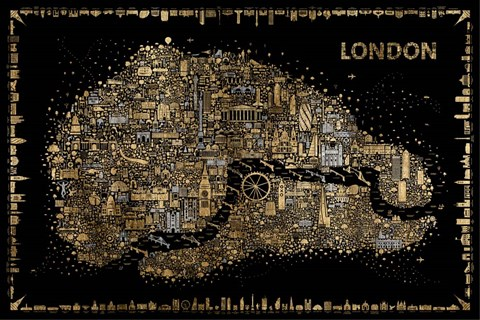 Framed Glam Iconic Cities-London Print