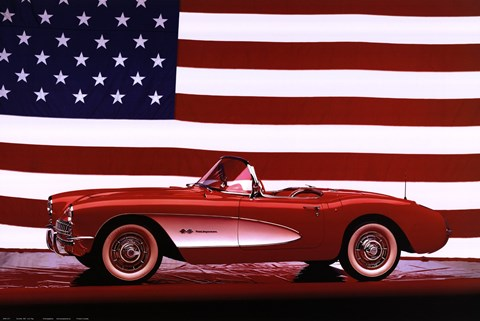 Framed Corvette, 1957 - Us Flag Print