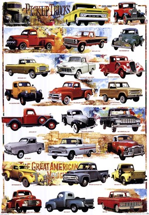 Framed Pick-Up Trucks 1931-1980 Print