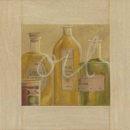 Framed Oil Bottles 2 Print