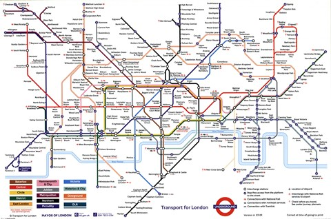 Framed London Underground Map Print