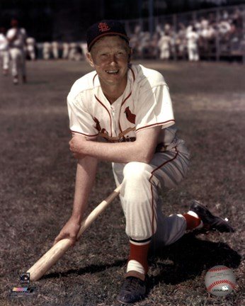 Framed Red Schoendienst - Kneeling with bat Print