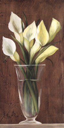Framed Yellow Cala Lilies In Vase Print